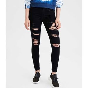 American Eagle Jeggings Ripped Black